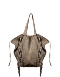 Linea Pelle Sybil Fringed Tote Light Olive