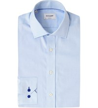 Duchamp Cotton Pique Tailored Fit Cotton Shirt Blue