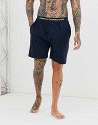 French Connection Logo Waistband Jersey Shorts Blue