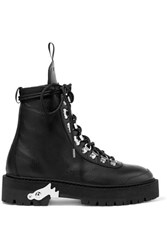 Off White Hiking Textured Leather Ankle Boots Black