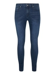 Topman Blue Dark Wash Stretch Spray On Jeans