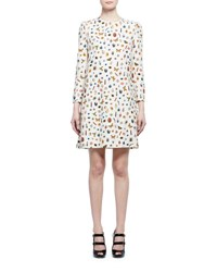 Alexander Mcqueen Obsession Print 3 4 Sleeve Shift Dress Ivory Mix White