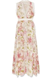 Giambattista Valli Lace Trimmed Floral Print Silk Gown Ivory