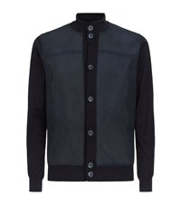 Paul And Shark Perforated Suede Panel Cardigan Male Navy