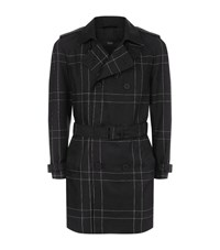 Boss Large Check Trench Coat Male Black