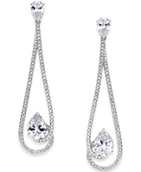 Eliot Danori Silver Tone Crystal And Pave Long Drop Earrings
