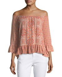 Sanctuary Julia Off The Shoulder Blouse Orange Pattern