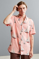 Barney Cools Yacht Club Short Sleeve Button Down Shirt Pink
