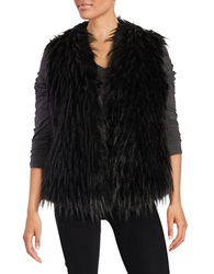 Ivanka Trump Long Hair Faux Fur Vest Black Grey