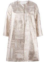 Gianluca Capannolo Metallic Cropped Sleeve Coat Nude Neutrals