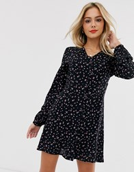 Daisy Street Long Sleeve Tea Dress In Vintage Ditsy Floral Black
