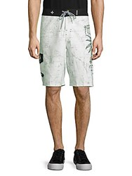 Affliction Logo Print Tie Up Shorts White