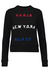 Etre Cecile Paris New York Pluto Flocked Cotton Sweatshirt Black