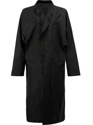 The Soloist Asymmetric Long Coat Men Silk Lamb Skin 46 Black