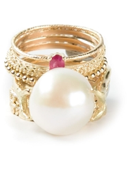 Wouters And Hendrix Gold 'Pearl And Ruby' Set Of 9 Rings Metallic