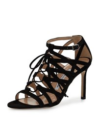 Manolo Blahnik Vostra Strappy Suede Lace Up Sandal Black