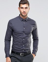 Asos Skinny Shirt In Charcoal With Long Sleeves Charcoal Grey