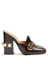 Gucci Peyton Faux Pearls Leather Shoes Black