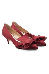 N 21 Satin Kitten Heel Pumps Red