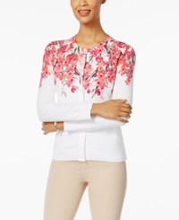 Karen Scott Floral Print Cardigan Only At Macy's Bright White