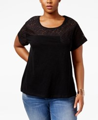 Styleandco. Style Co. Plus Size Lace Yoke Top Only At Macy's Deep Black