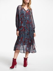 And Or Megan Forest Floral Midi Dress Red Blue