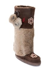 Manitobah Mukluks Genuine Rabbit Fur And Sheepskin Tall Metis Mukluk Brown