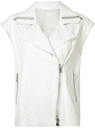 Sylvie Schimmel Sleeveless Biker Jacket White
