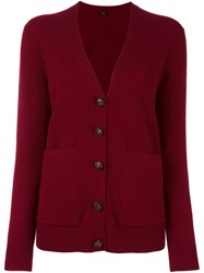 Joseph V Neck Button Down Cardigan Red
