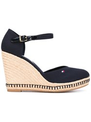 Tommy Hilfiger Buckled Wedge Sandals Women Cotton Rubber 36 Blue