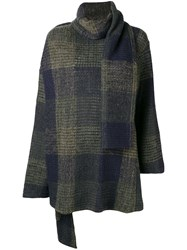 Y's Shawl Detail Checked Sweater Blue