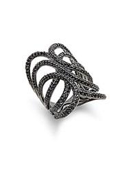 Blanc Noir Crystal Studded Ring Black