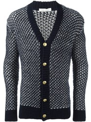 Balmain Pierre Ribbed Detail Cardigan Blue