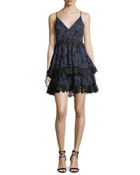 Kendall Kylie Tiered Lace Babydoll Dress Blue