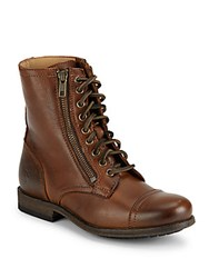 Frye Cap Toe Leather High Top Boots Cognac