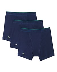 Lacoste Solid Cotton Boxer Briefs Pack Of 3 Navy