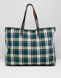 Warehouse Shopper Bag In Green Tartan Check