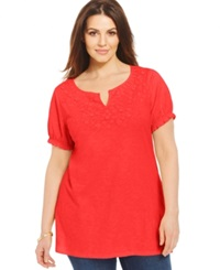 Charter Club Plus Size Short Sleeve Embroidered Peasant Top Rouge Red