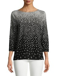 Imnyc Isaac Mizrahi Three Quarter Sleeve Boat Neck Tee Black Engineered Dot
