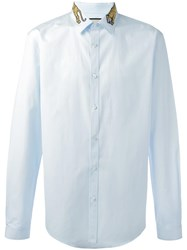 Gucci Tiger Embroidered Collar Shirt Blue