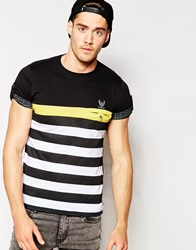 Ringspun Pocket T Shirt Wide Stripe Black