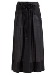 Tibi Gauze Overlay Wool Blend Midi Skirt Black
