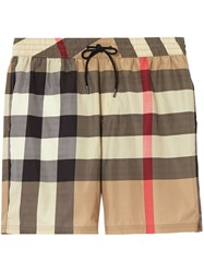 Burberry Check Drawcord Swim Shorts Neutrals