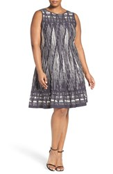 Nic Zoe Plus Size Women's 'Dashed Diamonds' Knit Fit And Flare Twirl Dress