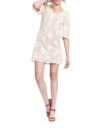 Plenty By Tracy Reese Scalloped Floral Lace Shift Dress Tea Dyed