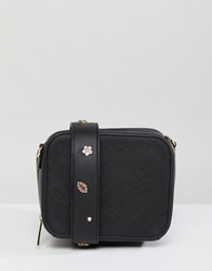 Johnny Loves Rosie Crossbody Bag With Interchangeable Embellished Strap Black