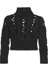 Maison Martin Margiela Mm6 Cropped Cable Knit Wool Sweater Charcoal