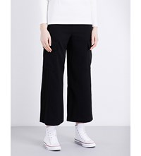 Izzue Cargo Cropped Twill Culottes Black