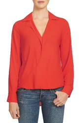 1.State Women's Surplice Crepe Blouse Poppy Red