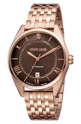 Roberto Cavalli Men's By Franck Muller Automatic Bracelet Watch 40Mm Rose Gold Brown Guilloche